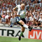 Paul Gascoigne scores England's second goal against Scotland in Euro 1996 as Colin Hendry can only l