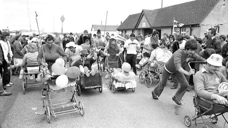 Part of the fun at the RNLI Day was a pram race around the area. Picture: JOHN KERR