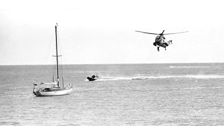 RNLI helicopters out putting on a displays out over the water. Picture: JOHN KERR