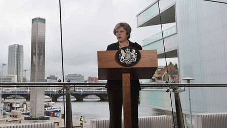 Prime minister Theresa May during her speech at the Waterfront Hall in Belfast