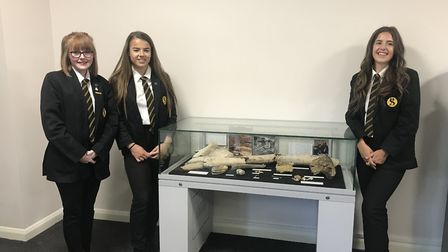 Stoke High School pupils Alicia Fuller, Jasmine Pead and Georgia Baltzer with the display they worke