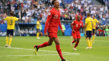 England's Dele Alli celebrates scoring his side's second goal of the game during the FIFA World Cup,