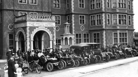 A line up of vehicles at the Felix Hotel, Felixstowe, in 1904. This was the first year of vehicle re