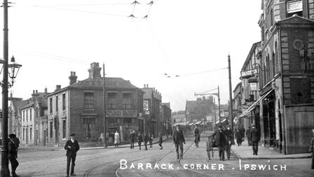 Barrack Corner, Ipswich, in the early years of the twentieth century. The huge volume of traffic pas