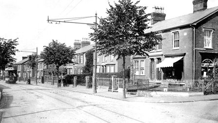 Spring Road, Ipswich, at the junction with Bartholomew Street around 1910. This is one of the busies