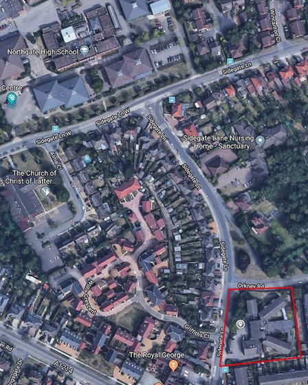 The Sidegate Lane care home site and its proximity to Northgate High School Picture: GOOGLE MAPS