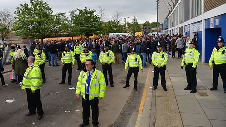 Stewards and Police officers in portman road Picture: ARCHANT
