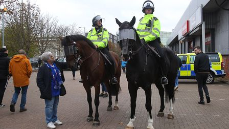 Police before an Ipswich Town game at Portman Road. Picture: PAUL CHESTERTON/FOCUS IMAGES