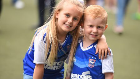 The 2017 Ipswich Town open day. Left to right, Kaicee-Jai Bentley and Kaiden Bentley. Picture: GREGG