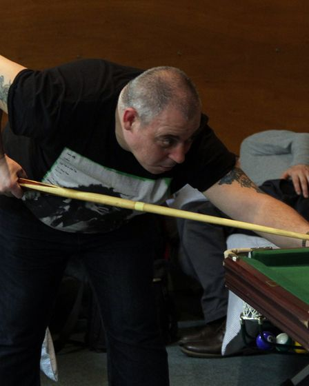 Playing pool at the Ipswich Winter Night Shelter. Picture: SIMON PARKER