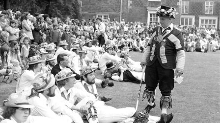 Crowds at Christchurch Park to watch morris men perform Picture: IVAN SMITH