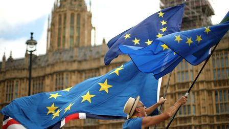 Anti-Brexit demonstrators wave European and Union flags outside the Houses of Parliament in London