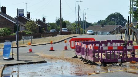 Beech Road in Kesgrave has been closed due to a water problem Picture: SARAH LUCY BROWN