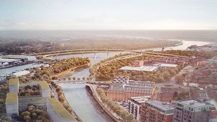 Overall look of the bridges for the Upper Orwell Crossings from Foster + Partners.