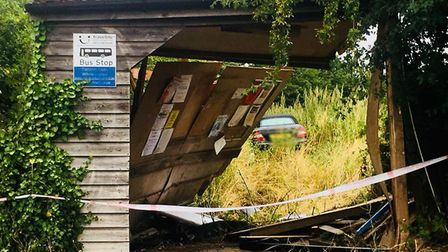 The bus stop in White Horse Hill, Tattingstone, after a crash Picture: CONTRIBUTED