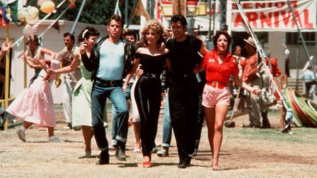 Olivia Newton John and John Travolta in Grease, showing at an open-air cinema event in Holywells Par
