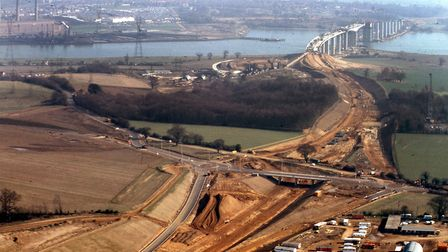 The Wherstead interchange on the A14 being built in March 1982. Work on the Orwell Bridge is in the
