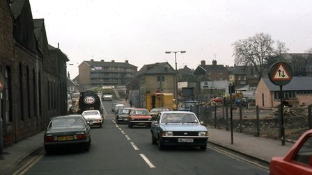 Bridge Street, Ipswich, looking towards Stoke Bridge in 1982, as work was going on to clear the site