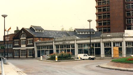 The light coloured low buildings on the right were the former showrooms of Mann Egerton's agricultur