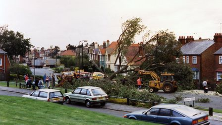 A powerful storm hit during the night of October 15/16, 1987. Many buildings were badly damaged and