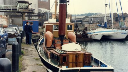 Neptune Quay at Ipswich Dock in May 1985. All of the buildings in the background, close to Coprolite