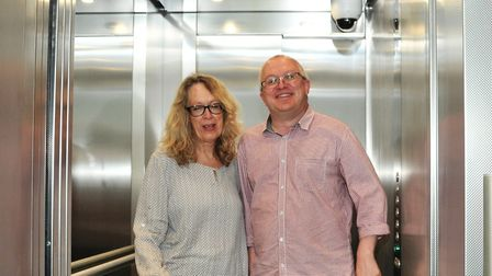 Executive member Carole Jones and Ipswich Council leader David Ellesmere in the lift at the new Crow