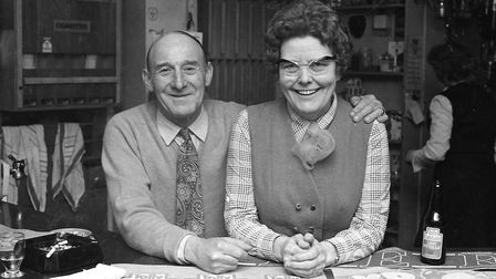 Can you name this pair, who stood proudly behind the bar in 1975? Picture: ARCHANT