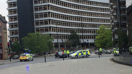 Police at the scene of the crash outside the Willis building Picture: ARCHANT