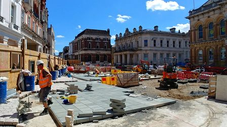 Work is continuing at Ipswich Cornhill. Picture: IPSWICH BOROUGH COUNCIL