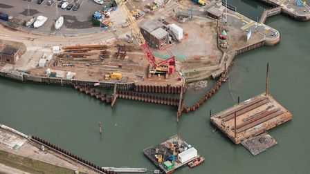 Work at the beginning of the Ipswich tidal barrier scheme in April 2016 Picture: ENVIRONMENT AGENCY