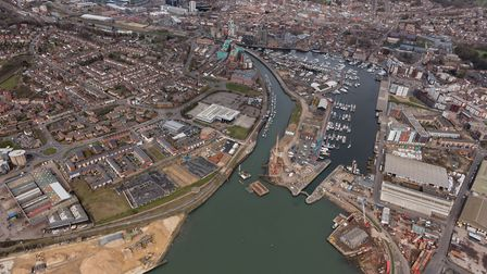 Ipswich Waterfront at the beginning of the tidal barrier scheme in April 2016 Picture: ENVIRONMENT A