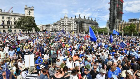 Crowds arrive in Parliament Square in central London, during the People's Vote march for a second EU