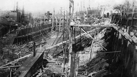 Construction of the new Ipswich lock gate around 1881, by an unknown Victorian photographer, and rec