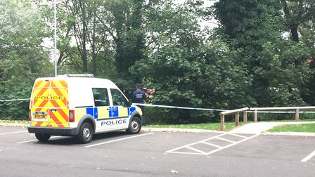 Police cordon on opposite side of the river Picture: ARCHANT