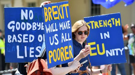 Crowds gather on Pall Mall in central London, during the People's Vote march for a second EU referen
