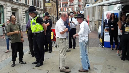 Tim Passmore (foreground) and Gareth Wilson (background) talk to the public in Ipswich town centre