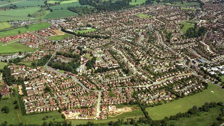 The Chantry estate, Ipswich, is in the top of this aerial view taken from over the A14 Ipswich by-pa