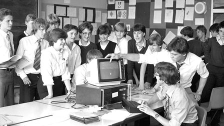 Learning about the latest computer technology at Stoke High School, Ipswich, in 1982 Picture: IVAN S