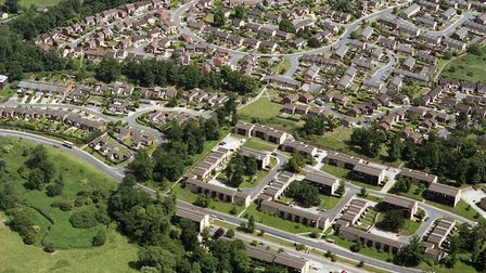 Stoke Park Drive is across the bottom of this picture from June 1992. The curve of Fountains Road is