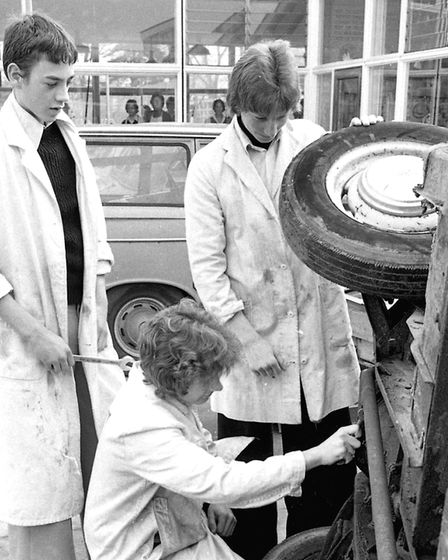 It was typing lessons for the girls and car mechanics for the boys at Chantry School in March 1977