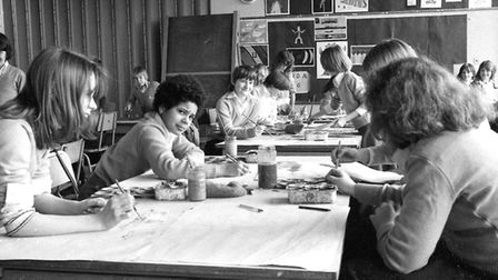 An art class at Chantry School, Ipswich, in March 1977 Picture: JERRY TURNER