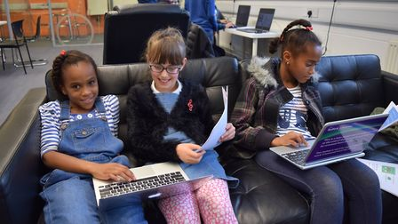 Youngsters are invited to take part in a CoderDojo event at Stoke Library. Pictured here are childre