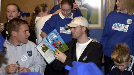 Interesting reading for Ipswich Town stars Richard Naylor, left, and Alun Armstrong at the Big Read,
