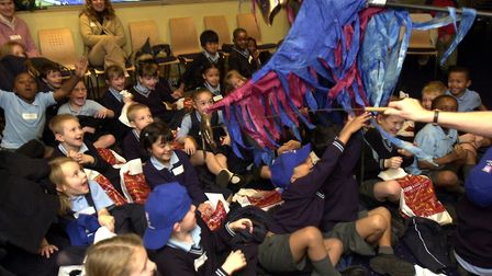 Scary moment as puppets of the Norwich puppet Theatre were held over children attending The Big Read