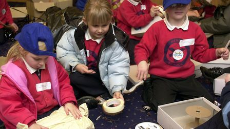 Henley Primary School pupils making imaginary characters out of junk Picture: KEITH MINDHAM