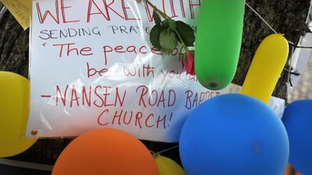 Tributes are left in memory of Tavis Spencer Aitkens Picture: SARAH LUCY BROWN