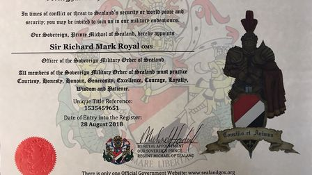 Sir Richard Mark Royal of Sealand received his official documents, signed off by Prince Michael Pict