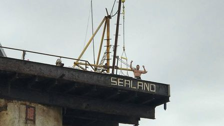 Richard atop the micronation of Sealand Picture: RICHARD ROYAL