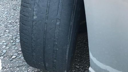 Thy tyre had the internal cord visible. Picture: SUFFOLK POLICE