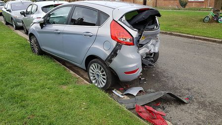 Damage caused by a suspected stolen car in Kildare Avenue Picture: RACHEL EDGE